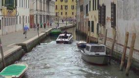 Carabinieri patrol boat in Venice stock video