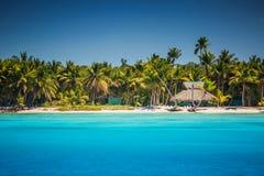 Caraïbisch wild strand in Punta Cana, Dominicaanse Republiek Stock Afbeeldingen