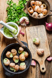 Caracóis com manteiga de alho antes de cozinhar Fotos de Stock Royalty Free