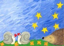 Caracóis do amor e um hedgehog Foto de Stock Royalty Free