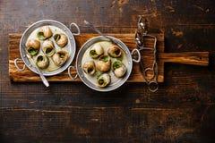Caracóis do escargot de Bourgogne com manteiga de ervas do alho fotos de stock
