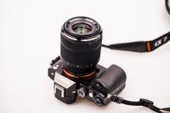 27 10 2015, CARACAL, ROEMENIË, Illustratieve redactiefoto en details van de mirrorless camera van Sony a7 Stock Foto's