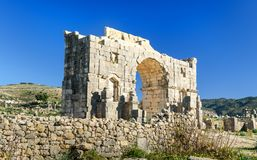 Caracalla,古老罗马市曲拱在罗马废墟的Volubilis 摩洛哥 免版税库存照片