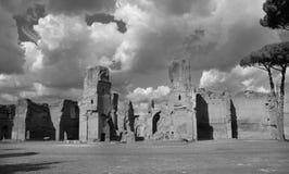 Caracalla浴在罗马B/W 免版税库存图片