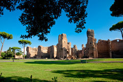 Caracalla springs ruins view from grounds framed with trees at R Stock Image