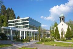 Caracalla-Therme con la chiesa di Spital in Baden-Baden Immagini Stock Libere da Diritti