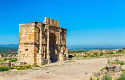 Caracalla Triumphal Arch at Volubilis, a UNESCO heritage site in Morocco Royalty Free Stock Photos