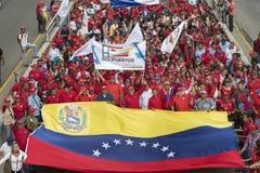 caracas Demonstratiesystemen maart tot steun van Overheids nieuwe economische maatregelen stock fotografie
