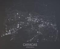 Caracas-Karte, Venezuela, Mittelamerika Lizenzfreie Stockfotografie