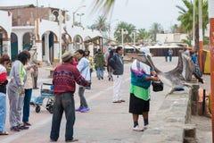 CARACAS, PERÚ - 15 DE ABRIL DE 2013: Turista que alimenta los pescados crudos para el pelícano en Caracas Perú Funcionamiento par Imágenes de archivo libres de regalías