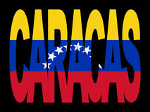 Caracas text with flag Stock Image