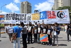 A rally against Maduro dictatorial regime in Caracas Venezuela shows Guaido supporters volunteering for humanitarian aid stock images