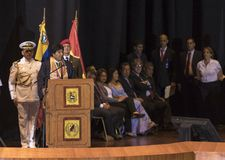 Evo Morales Ayma, President of the Plurinational State of Bolivia, delivers a speech. CARACAS, VENEZUELA-JANUARY 9, 2019: Evo Morales Ayma, President of the royalty free stock images