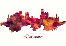 Caracas Venezuela skyline in red. Red skyline of Caracas, Venezuela`s capital, a commercial and cultural center located in a northern mountain valley stock illustration