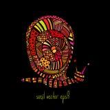 Caracol colorido do zentangle no fundo preto Fotografia de Stock Royalty Free