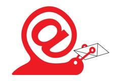 Caracol como icono del email Imagenes de archivo