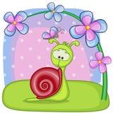 Caracol con las flores Fotografía de archivo