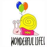Caracol de bebê dos desenhos animados com balões ilustração royalty free