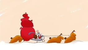 Caracol de Papá Noel en el trineo con snaily el trineo móvil de los ciervos con los regalos stock de ilustración