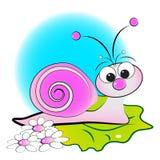 Caracol, flores e folha verde - ilustração do miúdo Fotos de Stock
