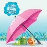 Caracol, rana y gusano debajo del paraguas en la tierra junto en el Ra stock de ilustración