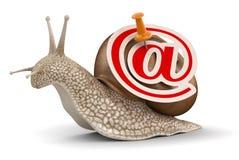Caracol y email (trayectoria de recortes incluida) Foto de archivo