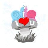 Caracoles en amor. Foto de archivo libre de regalías