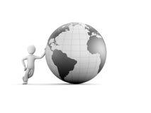 caractère 3d avec le globe gris Photo stock