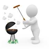 caractère 3D faisant cuire la nourriture dans le barbecue Photographie stock libre de droits