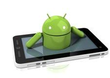 Caractère androïde lustré s'élevant hors d'une tablette images libres de droits