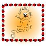 Caractère animal de dessin animé avec l'illu de coccinelle Photo libre de droits