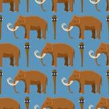 Caractère animal mammifère de vecteur gigantesque avec la défense et tronc dans l'illustration antique de stoneage de l'éléphant  Illustration Stock