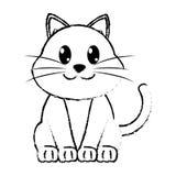 Caractère animal mignon de chat heureux grunge Image stock