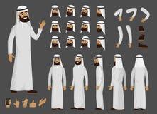 Caractère arabe musulman de créateur d'homme avec des émotions et la vue faciales différentes de corps Caractère arabe d'homme de illustration stock