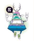 Caractère bizarre de hippie de triangle illustration de vecteur