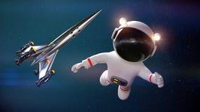 Caractère blanc mignon d'astronaute de bande dessinée pendant la promenade de l'espace avec le rendu du vaisseau spatial 3d illustration de vecteur