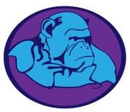 Caractère bleu d'animal de bande dessinée de singe illustration stock