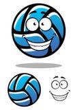 Caractère bleu de boule de volleyball de bande dessinée Photos stock