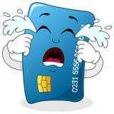 Caractère bleu pleurant triste de carte de crédit Image stock