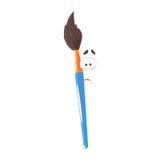 Caractère comique bleu de pinceau de bande dessinée, pinceau humanisé avec l'illustration drôle de vecteur de visage illustration libre de droits