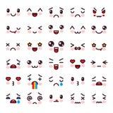 Caractère d'émoticône de bande dessinée de vecteur de Kawaii avec différentes émotions et ensemble émotif d'illustration d'expres illustration libre de droits