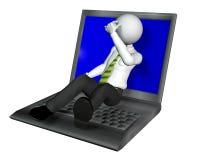 Caractère d'être humain du type 3d d'ordinateur portatif illustration libre de droits