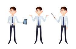 Caractère d'affaires de vecteur, homme d'affaires avec l'indicateur, art de papier, illustrations réglées illustration stock