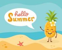 Caractère d'ananas sur la plage Photo libre de droits