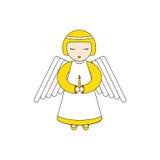 Caractère d'ange priant avec une bougie illustration stock