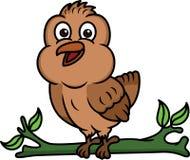 Caractère d'animal de bande dessinée d'oiseau de moineau illustration de vecteur