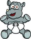 Caractère d'animal de bande dessinée de rhinocéros de bébé illustration de vecteur