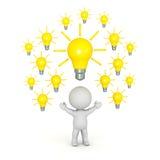 caractère 3D avec beaucoup d'ampoules au-dessus de sa tête Illustration de Vecteur
