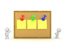 caractère 3D avec Cork Board et des notes Photo stock