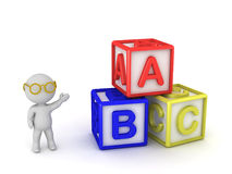 caractère 3D avec des cubes en B un C Illustration Stock